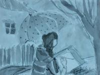 Дівчинка під дощем
