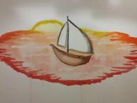 Лодка на закате солнца