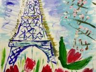 Цветы под башней в Париже