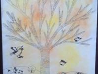 Осень. Дерево с птицами